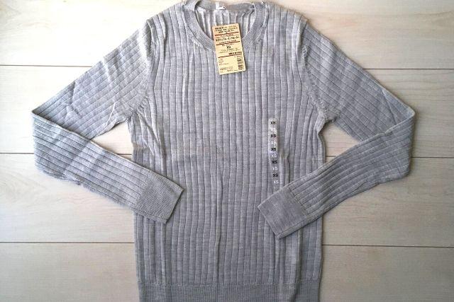 ワイドリブクルーネックセーター